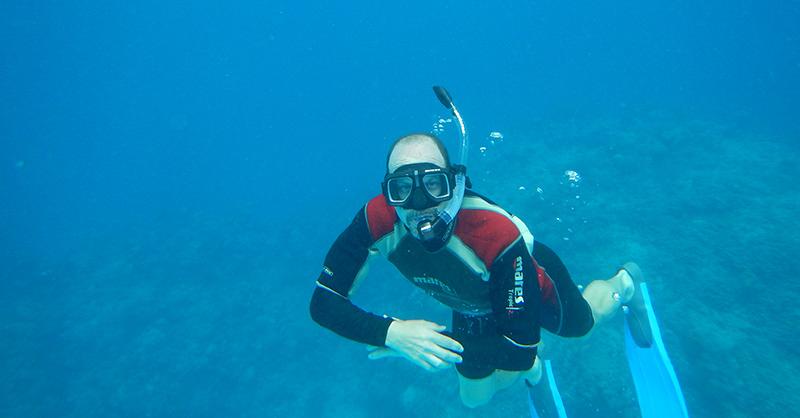 Joe Roman snorkeling in Cuba
