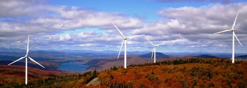 Windmills on a hilltop in Vermont.