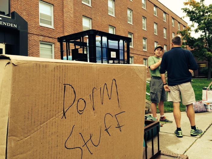 box of dorm stuff
