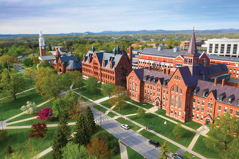 University of Vermont campus in spring from above
