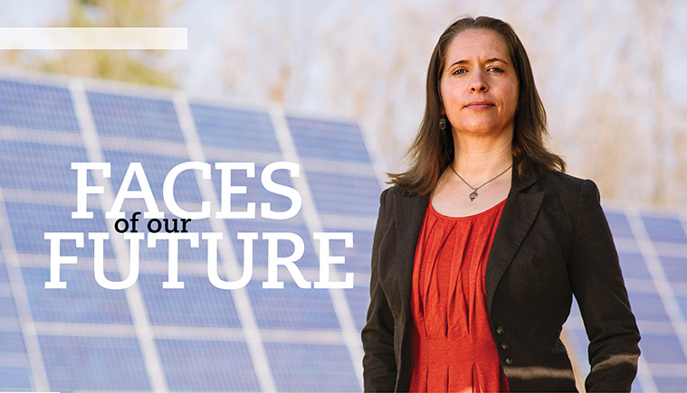 Jenny Stephens with solar panels