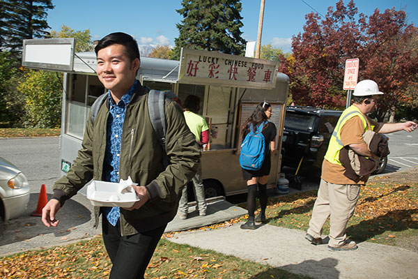 student at food truck