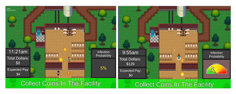 Images from biosecurity video games showing two different risk scenarios