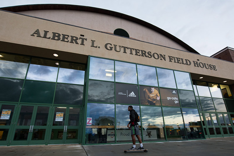 Skateboarder at Gutterson fieldhouse