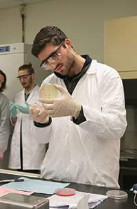 James Whitley in a lab coat looking at a petrie dish