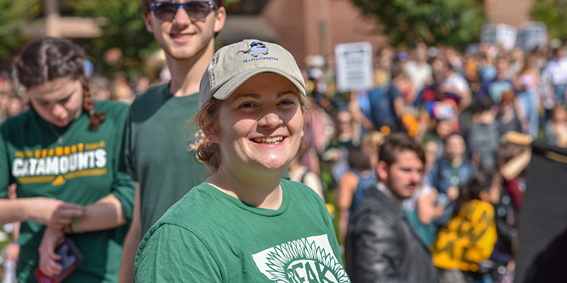 Jillian Scannell smiling at a student rally