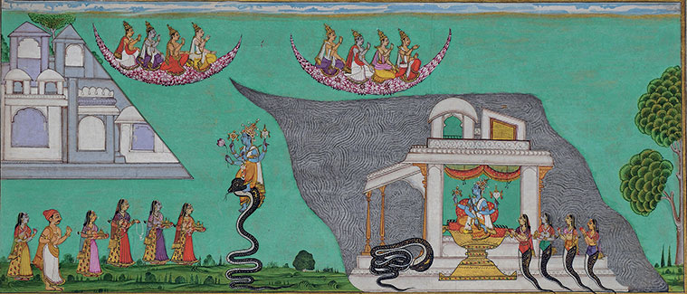 "complete ""Krishna Quells Kalia to the Acclaim  of the Gods"" painting"