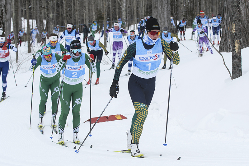 Lina Sutro leads in crowd of Nordic skiers