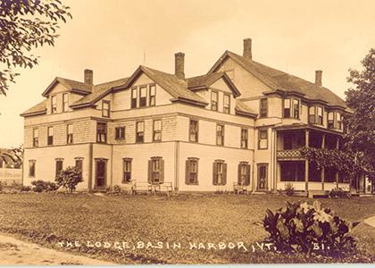 Old postcard of Lodge at Basin Harbor