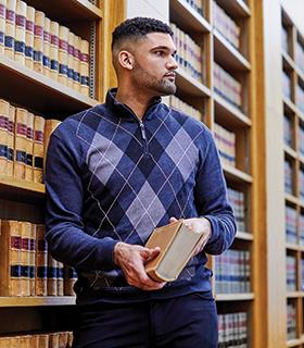 Luke Apfeld in Berkley law library