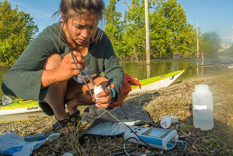 Maya Dizack tests water for microplastics