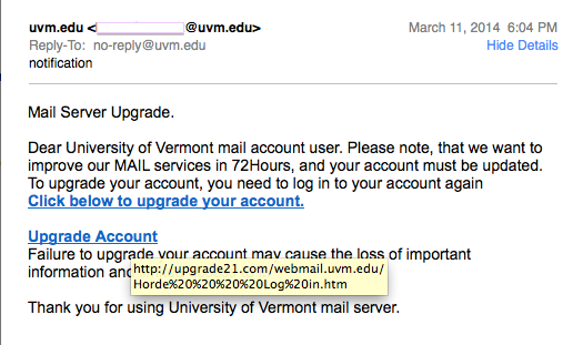 """notification"" phishing email"