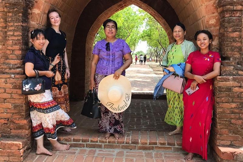 UVM alumna Brenna Lewis-Slammon in Myanmar with community members