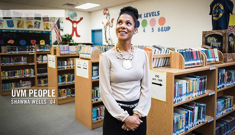 Shawna Wells standing in a grade school classroom