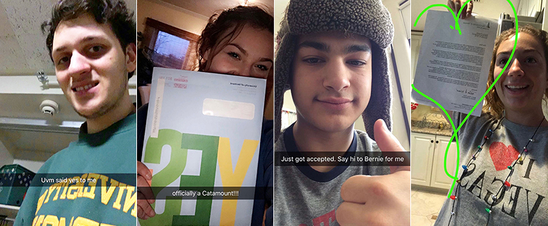 #UVMsaidYES accepted students on Snapchat