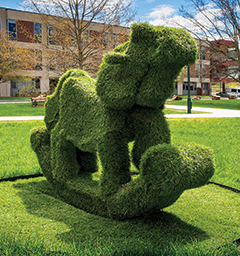 Sparkle Pony sculpture on campus