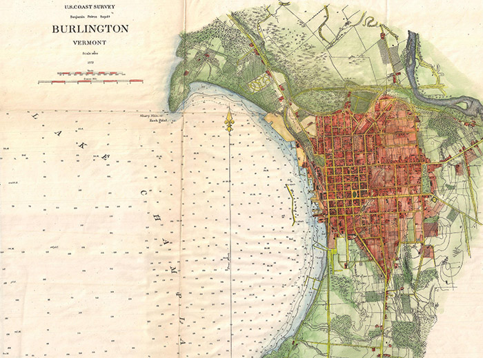 1872 survey map of Burlington, VT and coastline