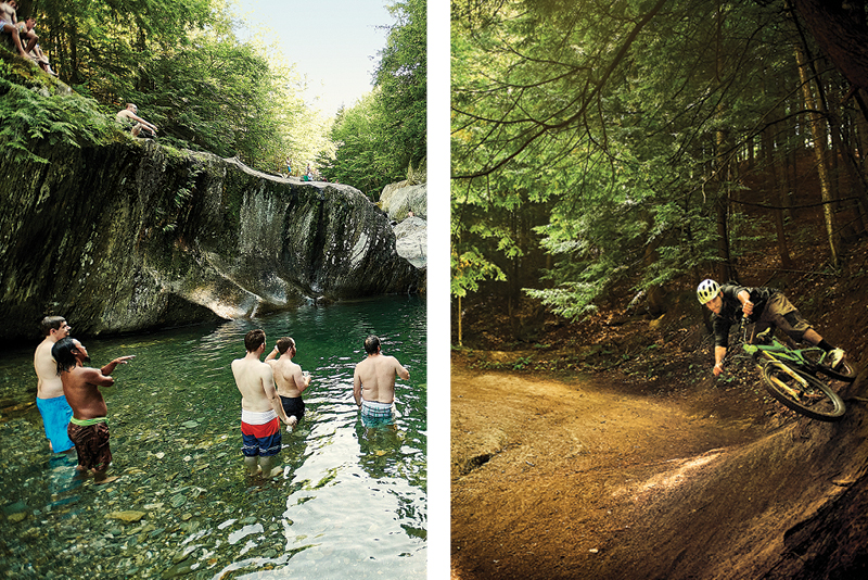 Boys standing around in a swimming hole, surrounded by cliffs. and trail biker coming around a steeply banked corner in the woods.