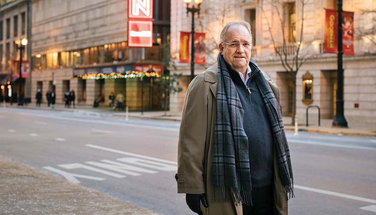 Ed Tracy on theater row in downtown Chicago