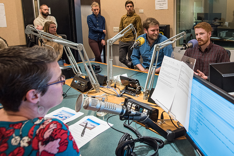 Students in Vermont Public Radio's studios talk with host Jane Lindholm