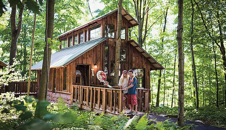 A handicap accesible cabin in the woods at Zeno Mountain